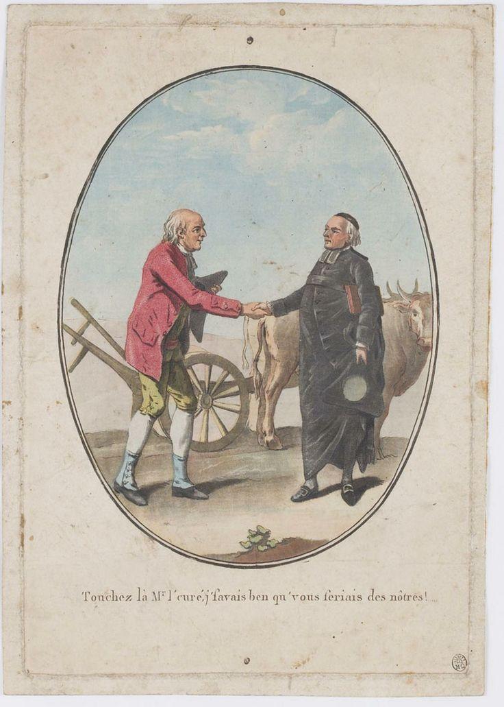 """Estampe légendée """"Touchez là Monsieur le Curé j'savais ben que vous seriais (sic) des nôtres !"""", non datée [1790?]."""