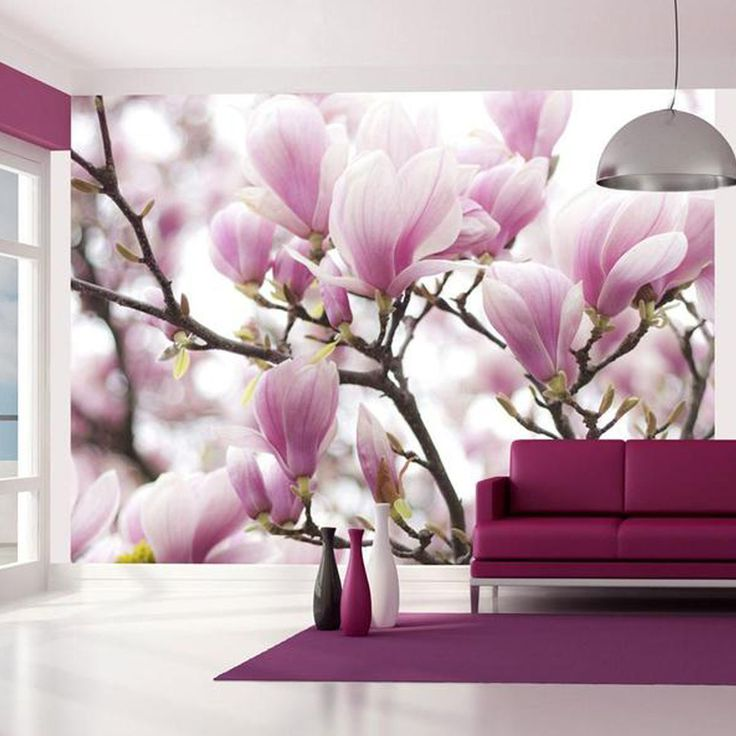 Magnolia flower mural wallpaper and perspective design. 3d wallpaper floral. Removable wallpaper with spring flowers, floral print wall art