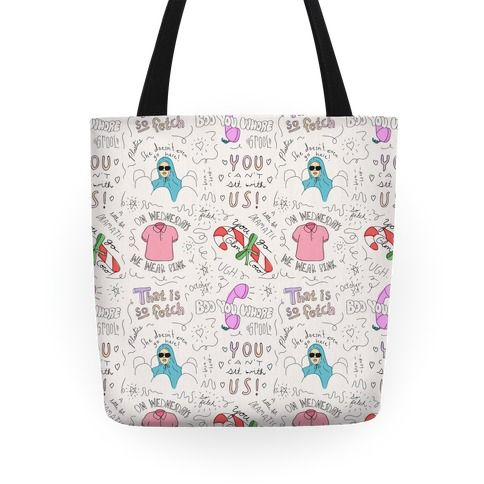Mean Girls Doodle Pattern - Check out this super fetch Mean Girls doodle pattern tote bag! Show off your love of that hilarious cult comedy movie with this Cady Heron, Regina George, high school movie, sketch, hand drawn, girly tote! Now grab your school supplies and make sure you wear pink on Wednesdays if you want to be in the Plastics!