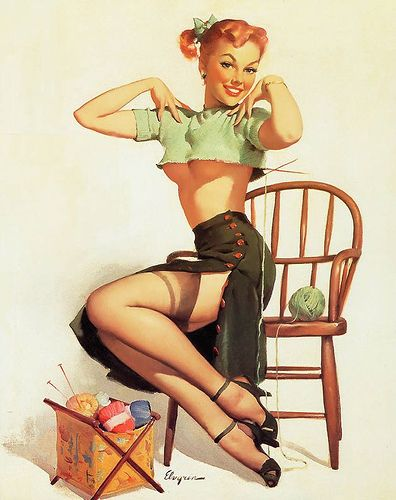 Pin Up Knitting. I don't care I think Pin up girls are awesome