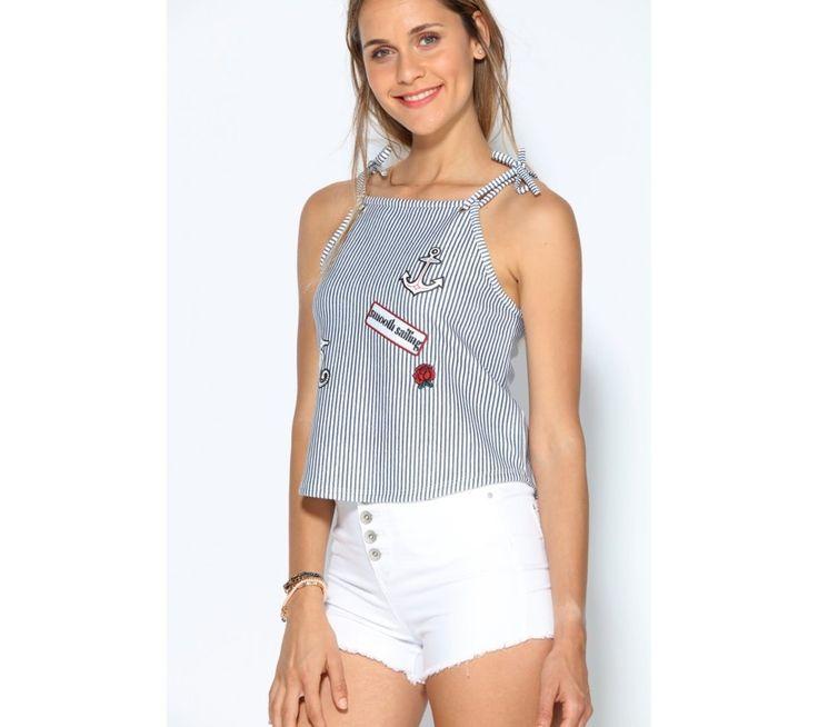 Tričko s ramínky na zavázání, s výšivkou | modino.cz #modino_cz #modino_style #style #fashion #summer #top