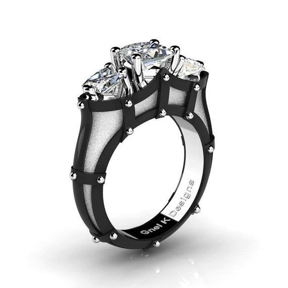 French 14K White and Black Gold Three Stone Princess by artmasters