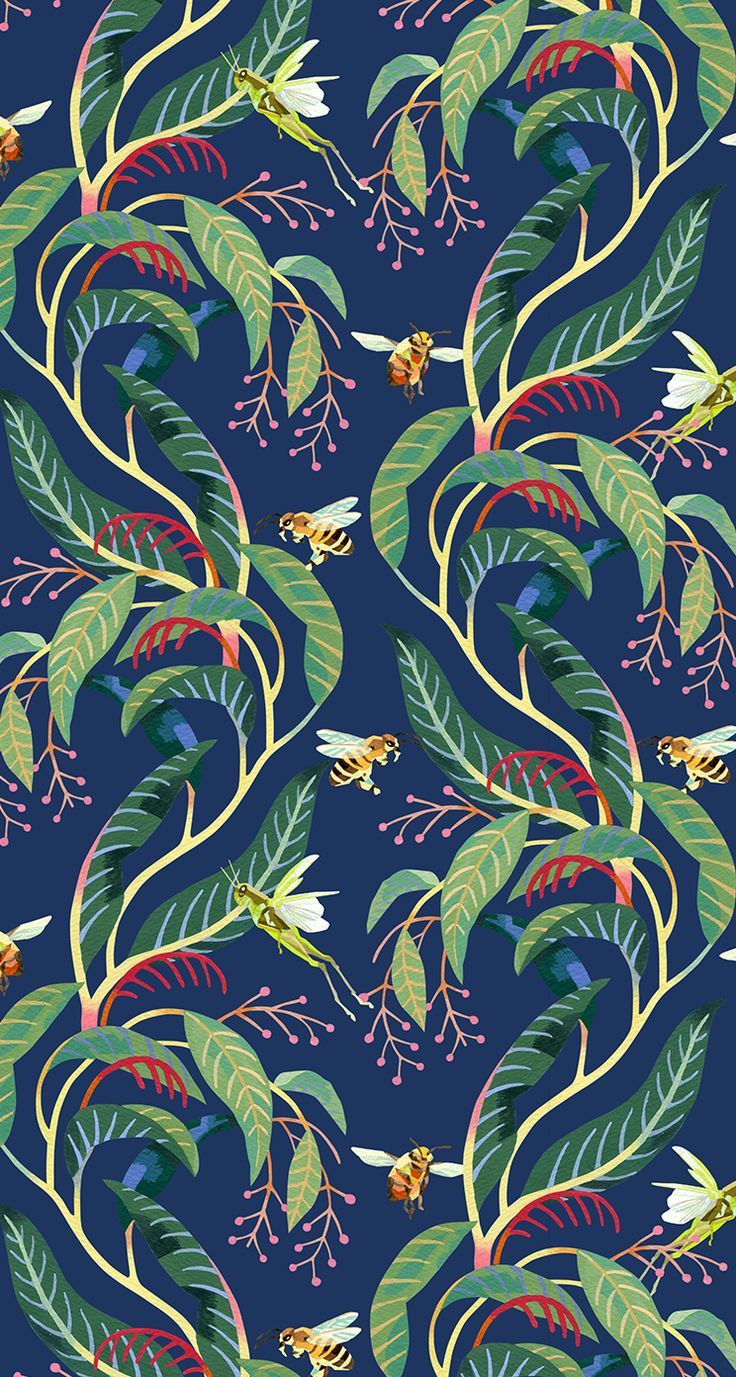 Tatsushi Eto | Illustration • Tropical pattern. Bees, Grasshoppers and plants. | Tropical pattern. Bees, Grasshoppers and plants.