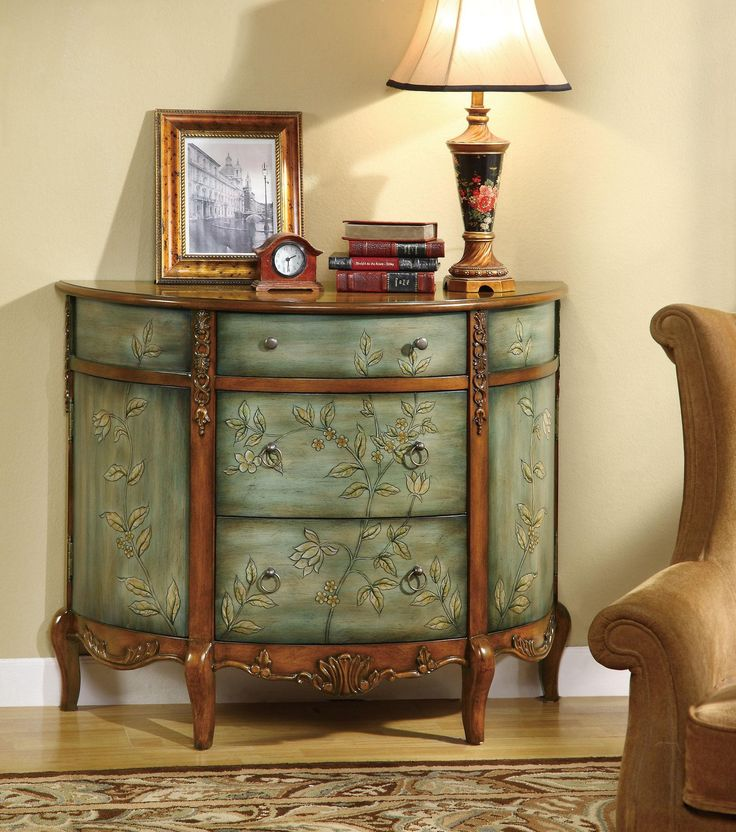 finished in an antiqued and distressed turquoise this three drawer accent cabinet is sure to - Accent Chests