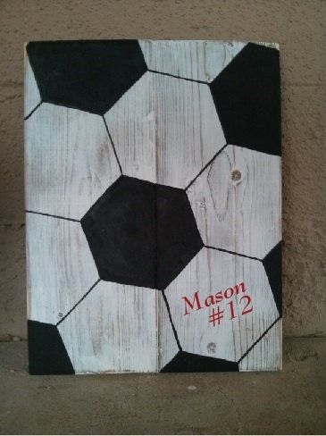 Customized Handmade Wooden Soccer Ball Sign by SunStateSisters More