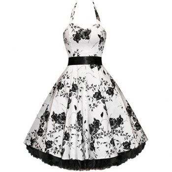 $48.49 Vintage Halterneck Sleeveless Floral Print Pleated Country Western Dresses For Women