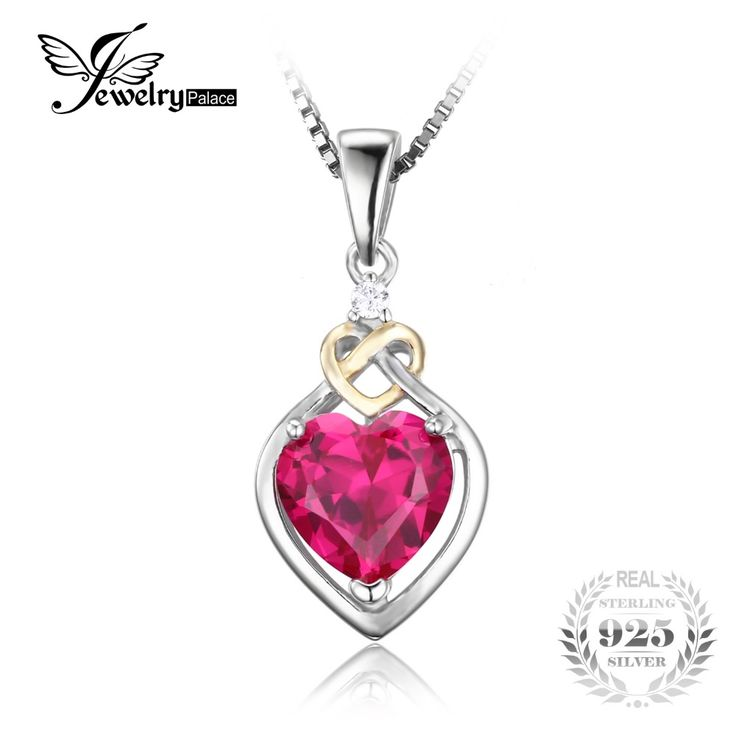 JewelryPalace Love Knot Heart 2.5ct Created Red Ruby Anniversary Pendant 925 Sterling Silver 18K Yellow Gold Without a Chain