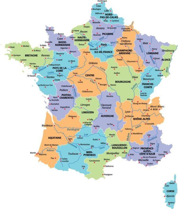 Regioni Francia Cartina.Regioni Della Francia Viaggio France Imparare Il Francese Lezioni Di Francese