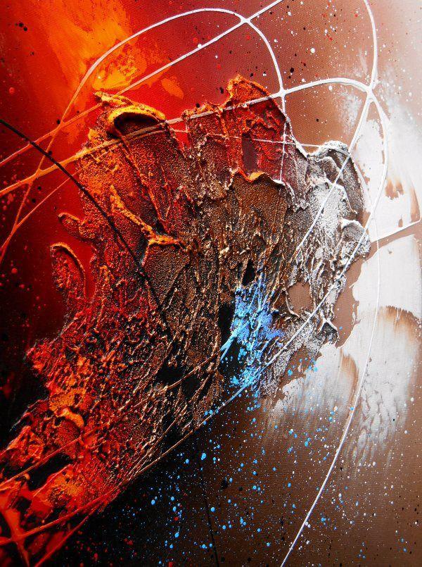 Tableau abstrait contemporain toile encadré caisse américaine peinture moderne en relief noir marron taupe cuivre rouge : Peintures par tableaux-abstraits-nathalie-robert