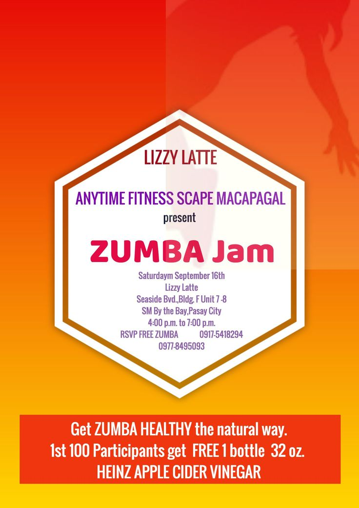 Lizzy Latté of SM By the Bay in collaboration with  ANYTIME FITNESS SCAPE MACAPAGAL presents  a ZUMBA event for lovers of Manila Bay. To top it all off, we are giving away 1 bottle of 32 oz Heinz Apple Cider Vinegar to the 1st 100 Participants. It comes with a shot glass . Hey after all the sweat , a nice healthy shot of ACV could spike your life