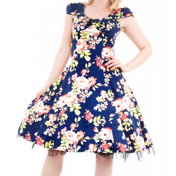Marine blauw lange swing jurk met bloemen – Vintage Rockabilly