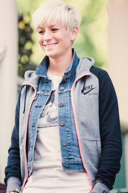 Megan Rapinoe, you make me so jealous because you're so gorgeous and can pull off that short hair.