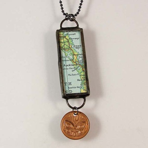 New Zealand Map and Coin Pendant Necklace