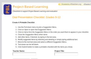 Project based learning checklist