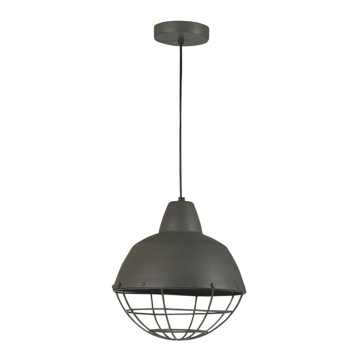 suspension moderne alu gris d27cm gris phare les suspensions et lustres luminaires salon. Black Bedroom Furniture Sets. Home Design Ideas