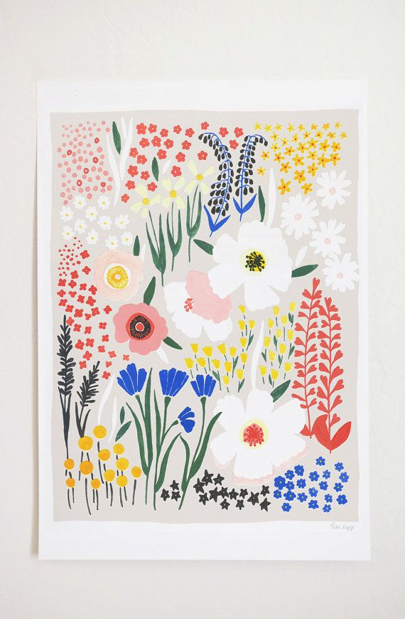 Anemone Garden Art Print by lisaruppdesign on Etsy