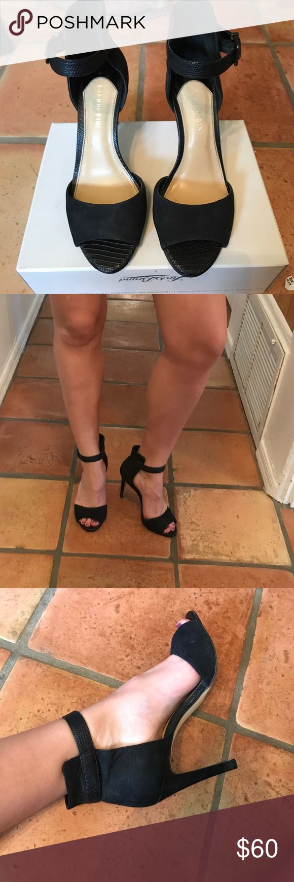 Black open toe ankle strap heals Gorgeous black heels, I wore them for prom never got any use out of them afterwards.  They have snakeskin detailing on the ankle strap and side. Nordstrom Shoes Heels