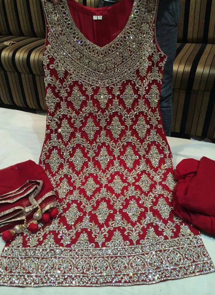 Red #Handwork #Bridal Look #SalwarKameez Visit:http://www.indiansareestore.com/made-to-order/106-Red-Handwork-Salwar-Kameez