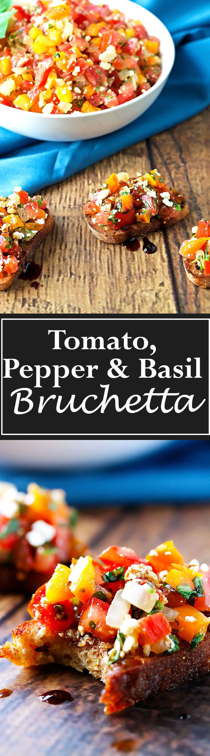 Sweet crunchy peppers mixed with plump, ripe tomatoes, onions, garlic, salty feta and fresh sweet basil all on top of a grilled baguette!