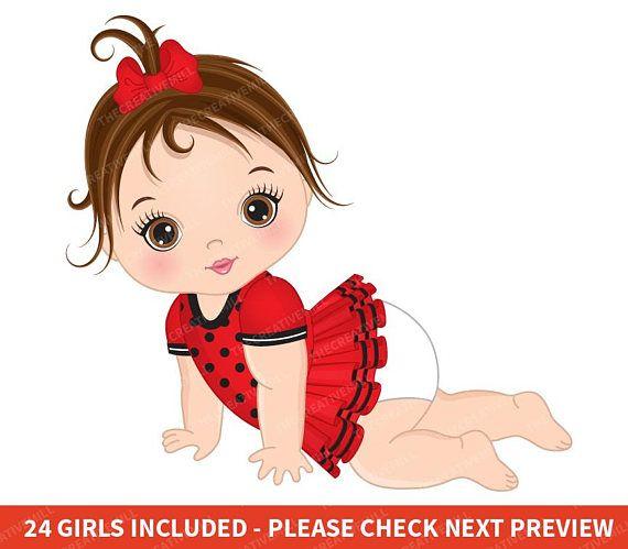 Ladybug Baby Girl Clipart Vector Baby Clipart Sticker Etsy Baby Girl Clipart Baby Ladybug Ladybug Baby Girl