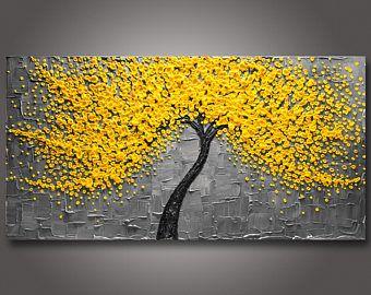 """ÉNORME 60 """"x 30 «x1.5» Original fleur arbre peinture jaune & gris - couteau à Palette empâtement texturé - toile Galerie - livraison gratuite!"""