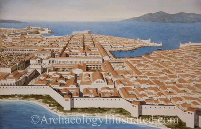 Miletus, the famed greek city in today's western Turkey as it would have appeared in the 2nd century AD. Reconstruction of Miletus based on extensive excavations of over 100 years at the site by the Germans as well as Google maps by Balage Balogh www.Archaeologyillustrated.com