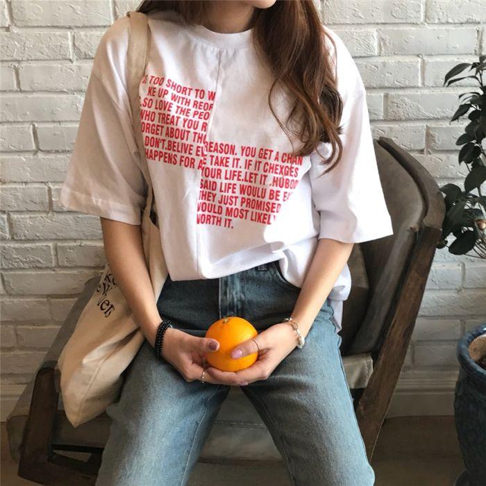 レディースファッション通販センターライン ロゴ プリント バイカラー 半袖 Tシャツ