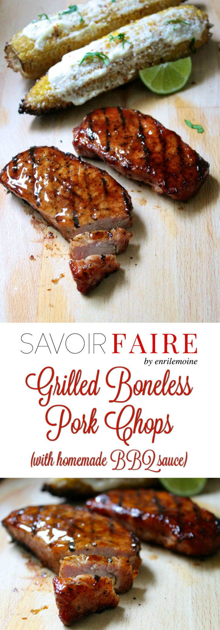These boneless pork chops were grilled over indirect fire. By adding a few wood chips previously soaked in water to the hot coal, the meat acquires a distinctive delicious smoky flavor. Click for the step-by-step recipe. #Ad #SaborSmithfield via @enrilemoine