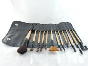 12 pc Makeup Brush Set and Case Cosmetic Brushes by Make Up. $55.00. 12 essential brushes wrapped in a luxurious embossed leather protection case. Made with all natural bristles and some synthetic brushes each made for a specific use. All brushes are made with animal bristle and golden handles, all in wrappers. Makes a great starter set for all your basic makeup needs. For best result, recommended to wash brushes & air dry before use.  How to Clean Makeup Brushes:  1. Run the bri...