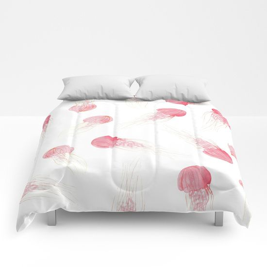 Jellyfish Apocalypse - Sans Text Comforters by Orion Rose  . . .  #jellyfish #art #design #interior #decor #watercolor #nature #ocean #sea #graphic #peach #pink #dogwood #minimalist #minimal #minimalism  #pale #aesthetic #surreal #whimsy #whimsical #apocalypse #bed #bedroom #comforter #duvet #cover #cozy