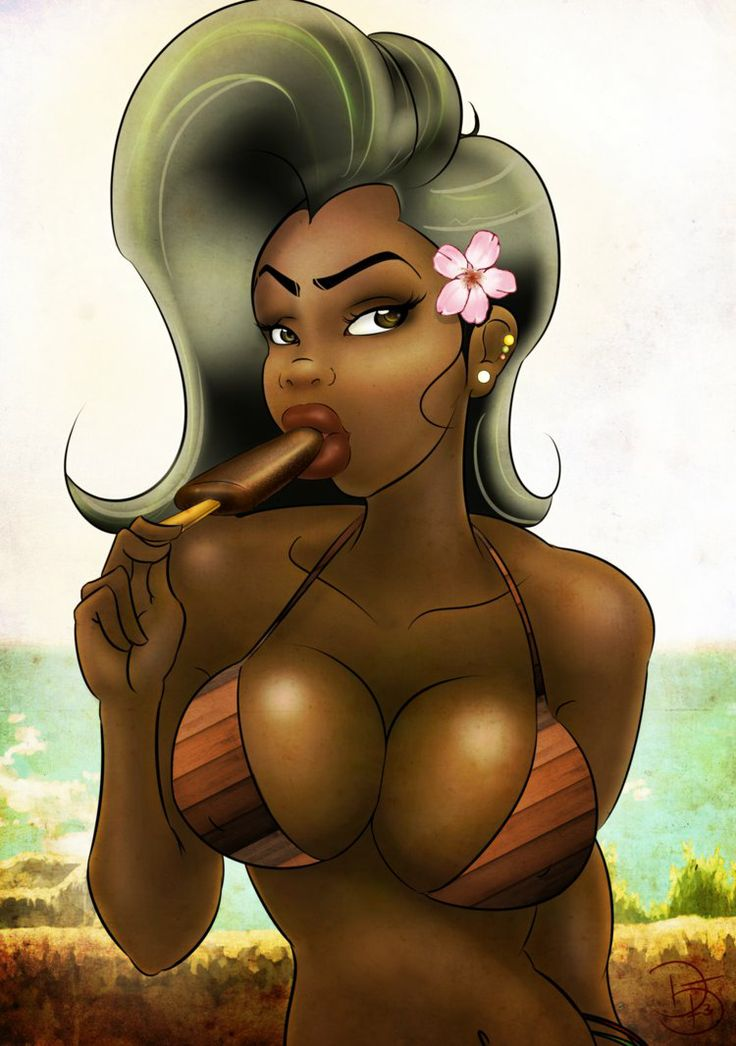 Chocolate Popsicle  Black Women Art  Sexy Black Art, Art -8651