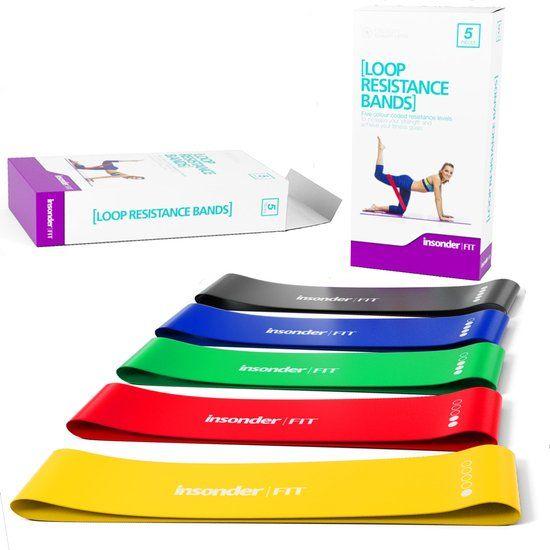 Insonder Weerstandsbanden 5x Fitnessbanden met Gratis E-Book loop resistance band set weerstandband fitness gymnastiekband exercise banden fitnessband mini stretch bands