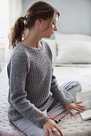 Пуловер-реглан спицами «Bedford» by Michele Wang