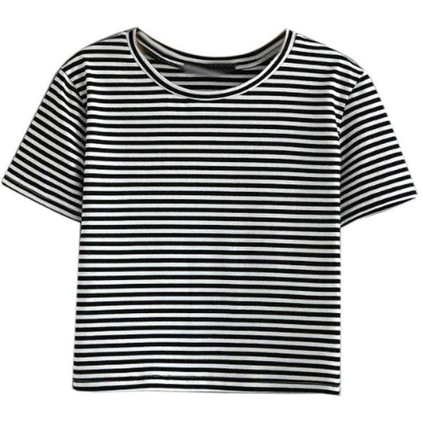 Monochrome Stripe Short Sleeve Cropped T-shirt ($18) ❤ liked on Polyvore featuring tops, t-shirts, & - clothing - shirts, shirts, short sleeve tops, t shirt, cotton t shirts, striped shirts and striped tees