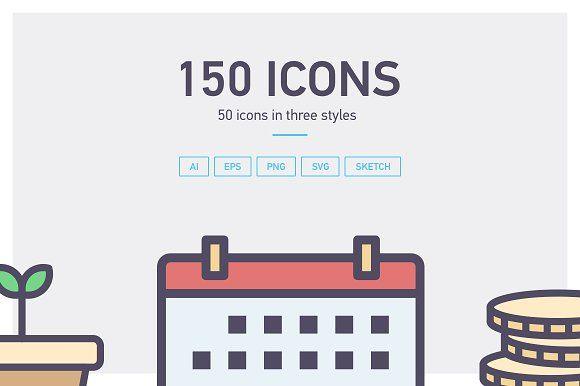50 icons in three styles by SashaGorosh on @creativemarket