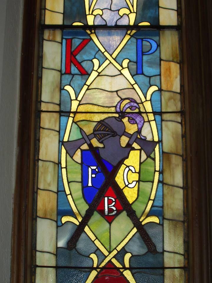 This is a portion of an Oakwood Cemetery chapel window honoring a fraternal group known as the Knights of Pythias. The letters F, C and B stand for the three founding principles of their order - Friendship, Charity and Benevolence. Although it no longer has a chapter that meets in Cuyahoga Falls, the organization still has active lodges elsewhere in Ohio as well as in other states.  Photo: Mary McClure.
