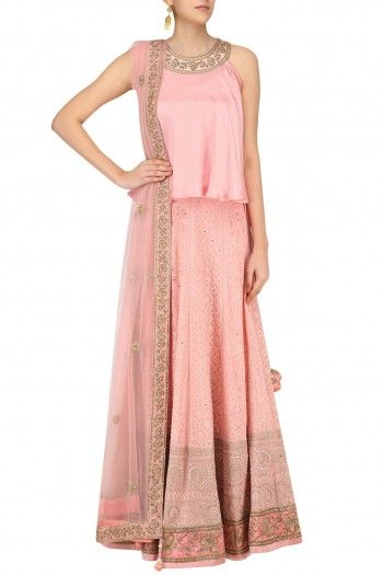 Sumona Coral and Gold Embroidered Lucknowi Lehenga Set #happyshopping #shopnow #ppus