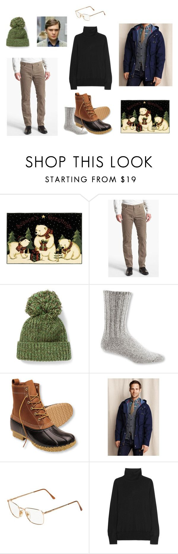 """Duck, duck boots"" by thehopefulpioneer ❤ liked on Polyvore featuring BOSS Orange, Richard James, L.L.Bean, Lands' End, Persol, J.Crew, men's fashion and menswear"