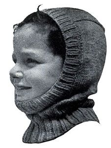 Helmet knit pattern from Boys and Girls, originally published by Fashions in Wool, Volume No. 53, in 1946.