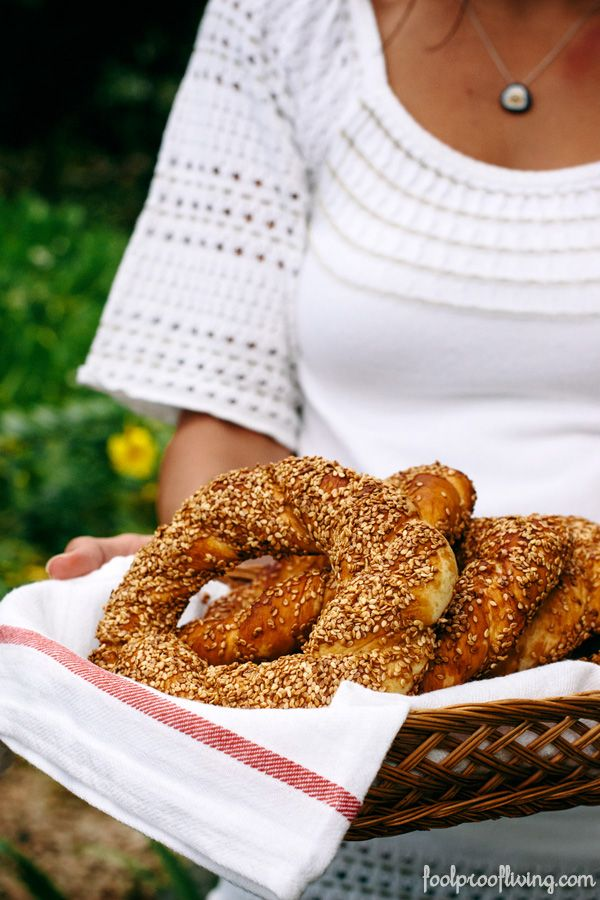 """Homemade Simit: How to make it at home with a short """"How To"""" VIDEO with the recipe. #simit #breakfast #turkishfood #turkishbreakfast"""