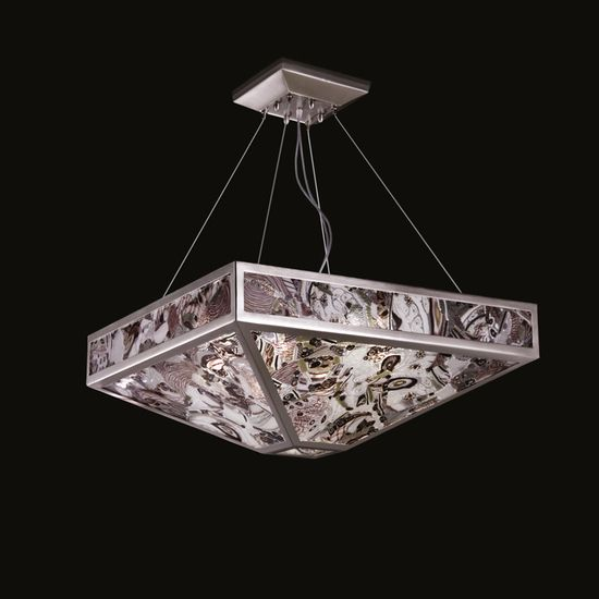 Mystique Suspension Lamp | The Mystique Suspension Lamp crafted by MULTIFORME has 9 lights, a geometrical metal structure with multicolour glass plates decorations. The produ... view details on www.treniq.com