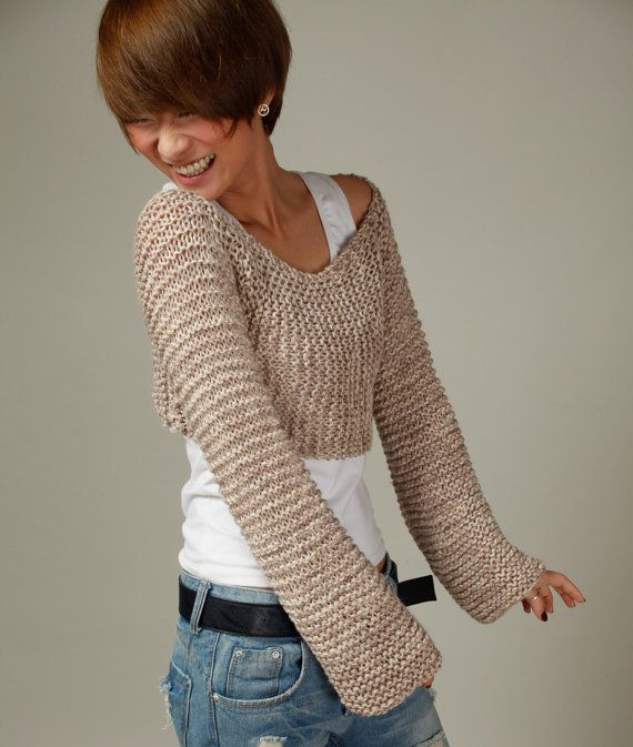 Hand knit sweater wheat cover up top by MaxMelody on Etsy
