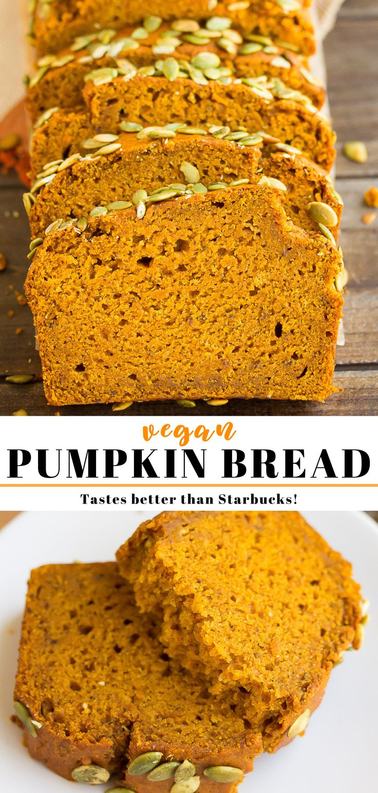 This is seriously the best vegan pumpkin bread you'll ever eat! It's per…