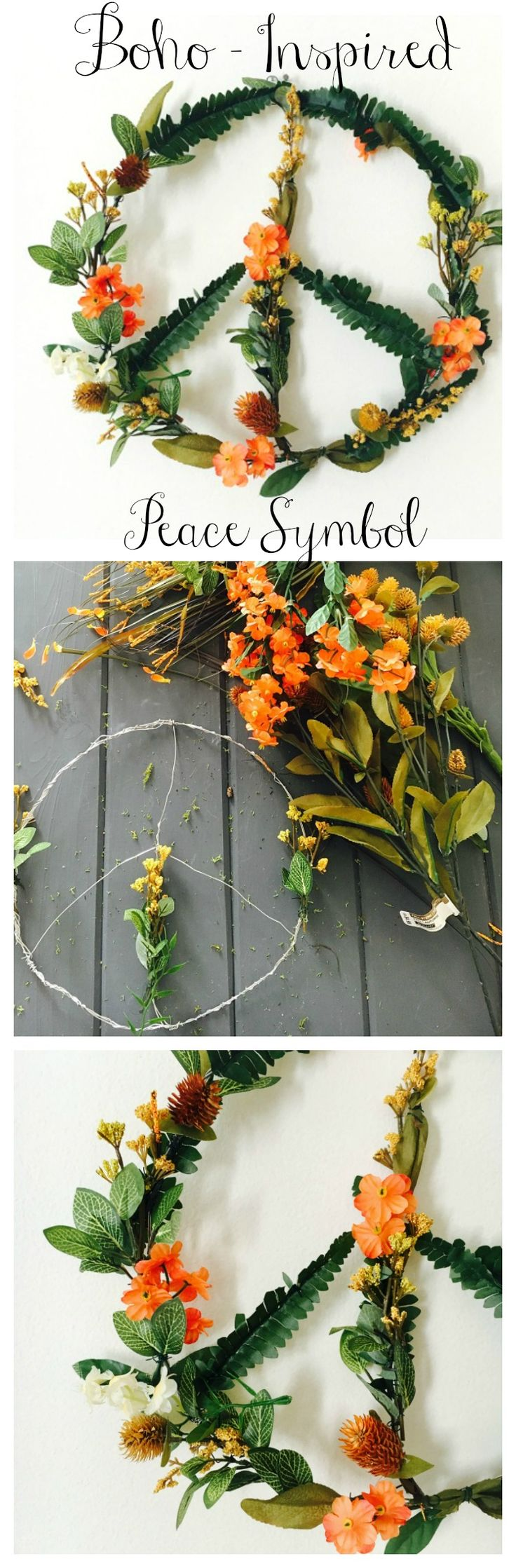 Boho Inspired Flower Peace Symbol. Easy-to-follow craft instructions on the blog. Happy crafting!! #crafty #diy #flowers #peace
