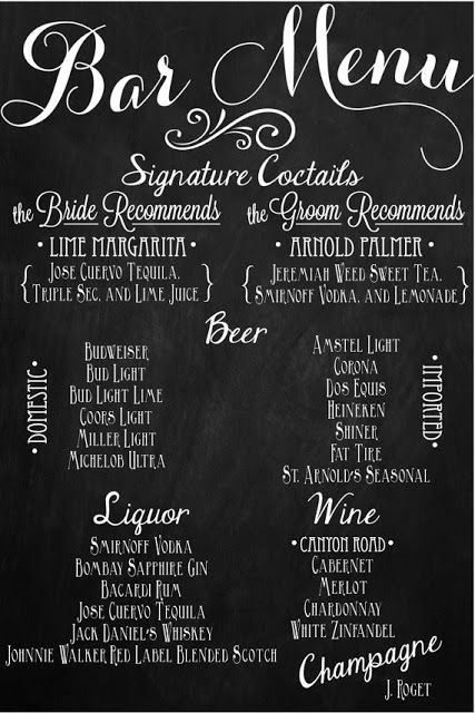 Custom Wedding Bar Menu Chalkboards. I like the idea of chalkboards everywhere...