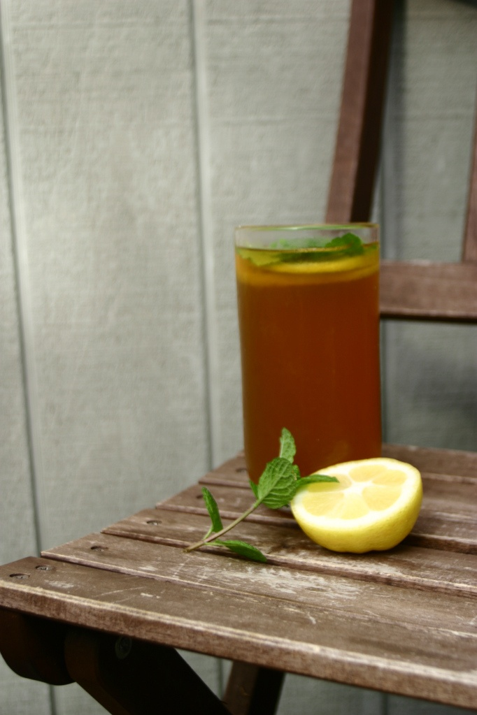 Refreshing mint and lemon iced tea. Perfect summer drink.