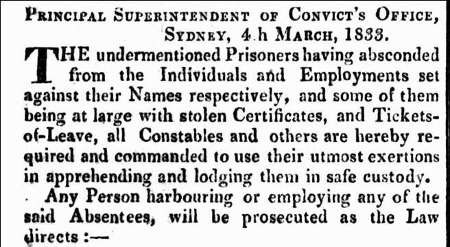 NSW List of Absconded and Apprehended Prisoners (Convicts) to 4th March 1833