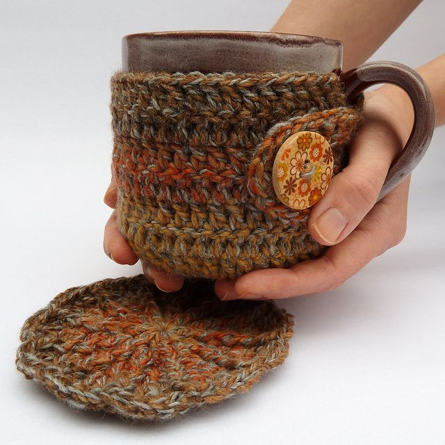 Large brown tea mug cosy coaster gift set.  By: DaisyBeth