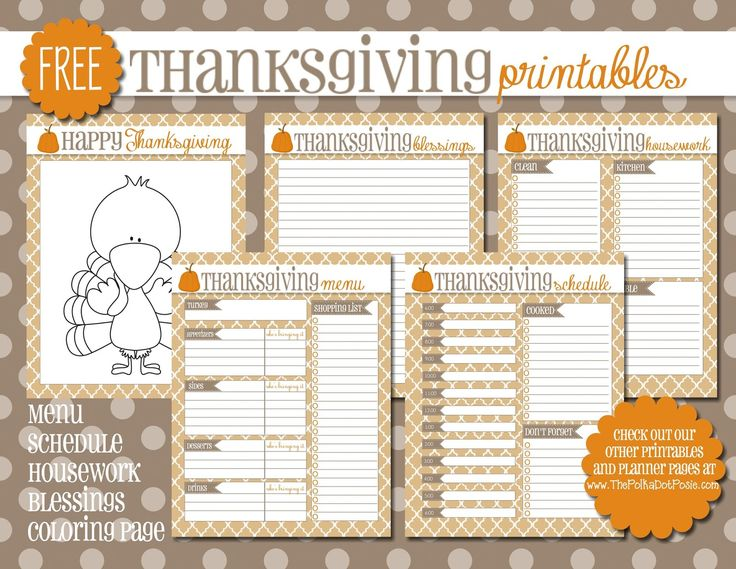 The Polka Dot Posie: FREE Thanksgiving Printables for your Planner or Home Management Binder