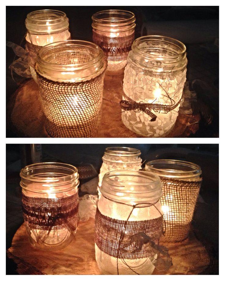 Mason jar wedding decor. For Leah's wedding.